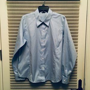 Blue women's button down blouse